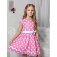 Платье для девочки хлопковое из поплина в горошек