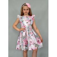 Праздничное хлопковое платье для девочки с цветочным принтом- текстильное