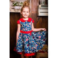 Великолепное платье с ярким цветочным рисунком  для девочки
