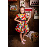 Нарядное яркое платье из мягкого  хлопка   для девочки