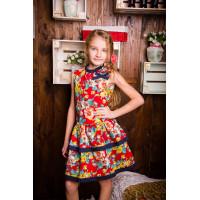 Летнее детское платье с цветочным узором    для девочки