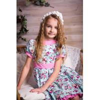 Нарядное детское платье с цветочным принтом  для девочки