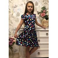 Нарядное платье для девочки в горошек