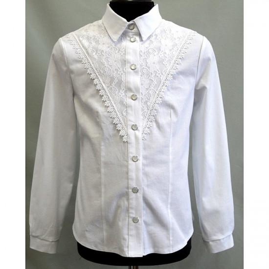 Блузка для девочки школьная с гипюром - 1