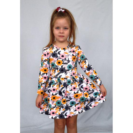 Платье для девочки на весну из модного футера - 1