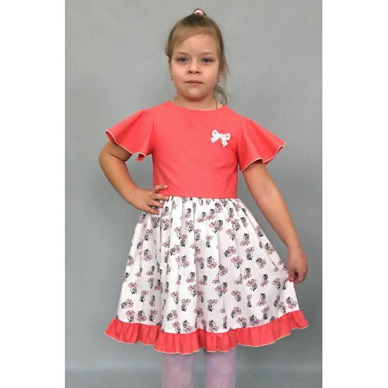 Летнее платья для девочки с рукавами крылышками - 1
