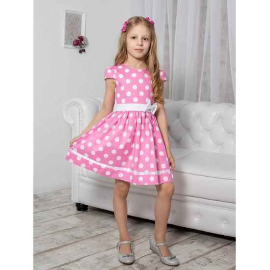 Платье для девочки хлопковое из поплина в горошек - 1