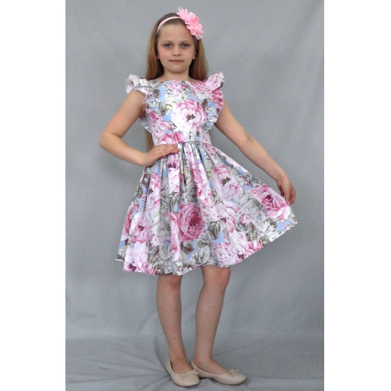 Праздничное хлопковое платье для девочки с цветочным принтом- текстильное - 1