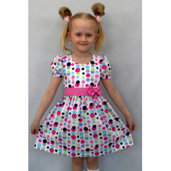 Летнее платье в горошек для девочки - 1